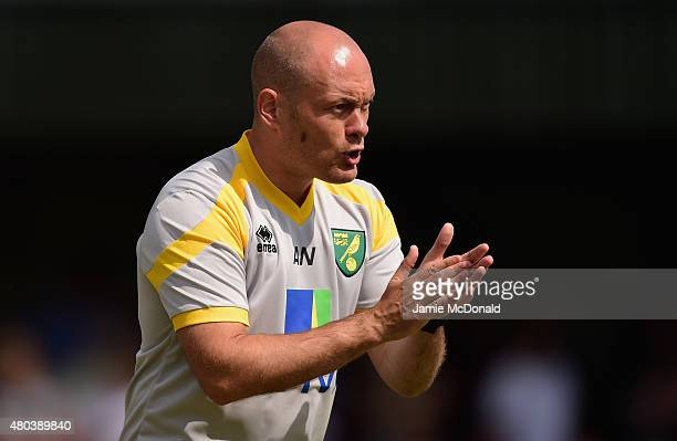 Manager of Norwich City Alex Neil looks on during the pre season friendly match between Gorleston and Norwich City at Gorleston football and social...