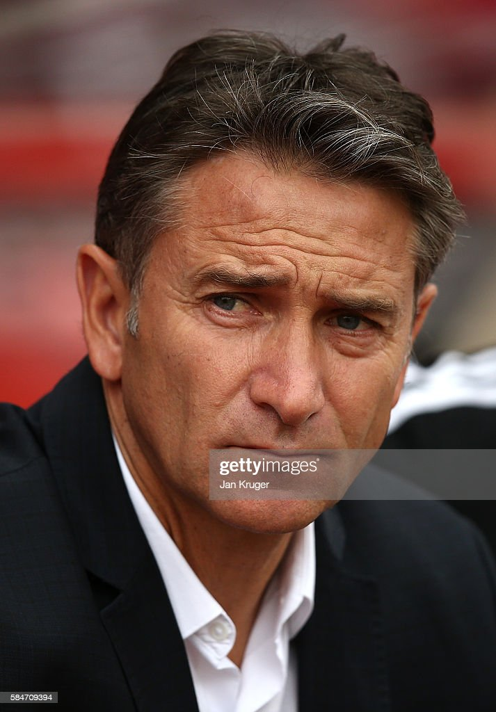 Manager of Nottingham Forest Philippe Montanier looks on during the pre-season friendly match between Nottingham Forest and Hull City at City Ground on July 30, 2016 in Nottingham, England.