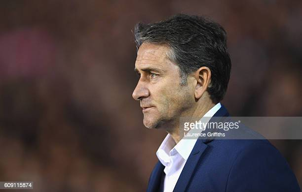 Manager of Nottingham Forest Philippe Montanier looks on during the EFL Cup Third Round match between Nottingham Forest and Arsenal at City Ground on...