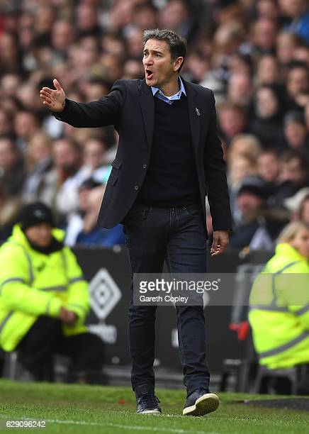 Manager of Nottingham Forest Philippe Montanier reacts during the Sky Bet Championship match between Derby County and Nottingham Forest at iPro...