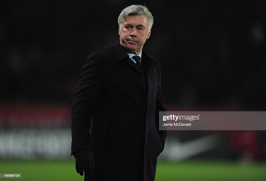 Manager of Paris Saint-Germain Carlo Ancelotti looks on during the Ligue 1 match between Paris Saint-Germain FC and SC Bastia at Parc des Princes on February 8, 2013 in Paris, France.
