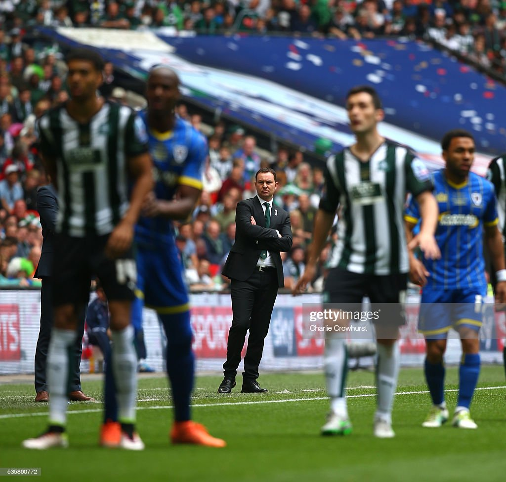 Manager of Plymouth Derek Adams looks on during the Sky Bet League 2 Play Off Final between Plymouth Argyle and AFC Wimbledon at Wembley Stadium on May 30, 2016 in London, England.