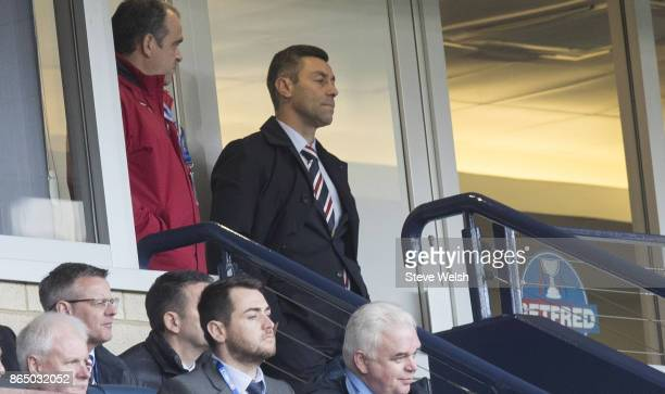 Manager of Rangers Pedro Caixinha sent to the stands during the Betfred Cup Semi Final at Hampden Park on October 22 2017 in Glasgow Scotland
