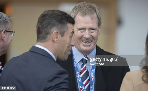 Manager of Rangers Pedro Caixinha talks with Rangers Chairman Dave King before the Betfred Cup Semi Final at Hampden Park on October 22 2017 in...