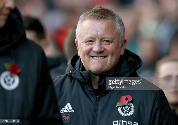 Manager of Sheffield United Chris Wilder looks on during the Sky Bet Championship match between Sheffield United and Hull City at Bramall Lane on...