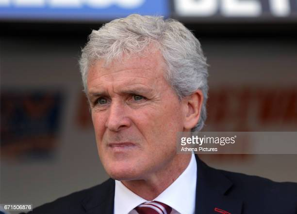 Manager of Stoke City Mark Hughes during the Premier League match between Swansea City and Stoke City at The Liberty Stadium on April 22 2017 in...