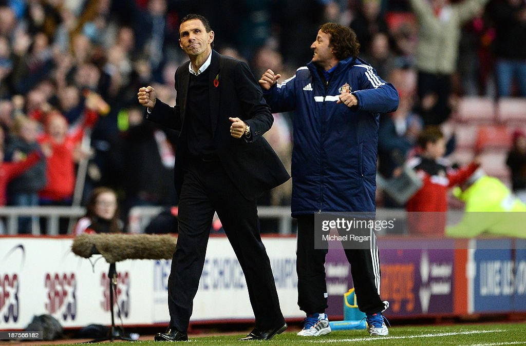 Manager of Sunderland Gus Poyet celebrates victory after the Barclays Premier League match between Sunderland and Manchester City at the Stadium of Light on November 10, 2013 in Sunderland, England.