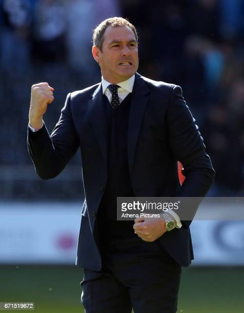 Manager of Swansea City Paul Clement celebrates his team's win after the Premier League match between Swansea City and Stoke City at The Liberty...