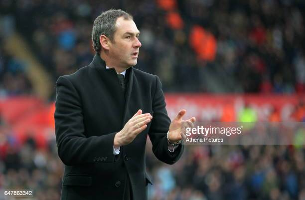Manager of Swansea City Paul Clement celebrates the goal scored by Fernando Llorente making the score 32 to his team during the Premier League match...