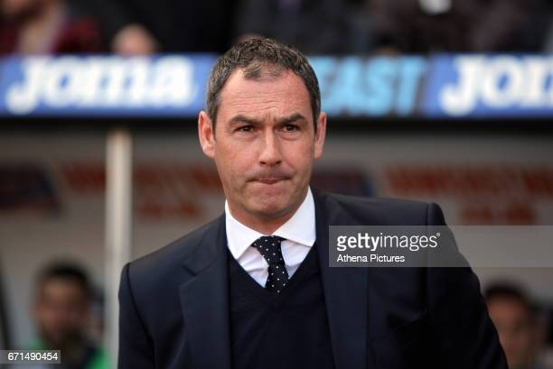 Manager of Swansea City Paul Clement in the dug out during the Premier League match between Swansea City and Stoke City at The Liberty Stadium on...