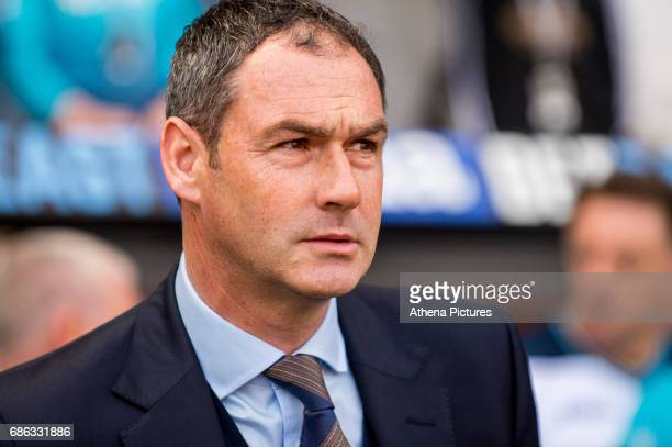 Manager of Swansea City Paul Clement looks on during the Premier League match between Swansea City and West Bromwich Albion at The Liberty Stadium on...
