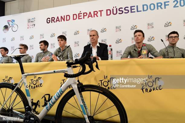 Manager of the France's AG2R La Mondiale cycling team Vincent Lavenu France's Romain Bardet Belgium's Oliver Naesen and France's PierreRoger Latour...