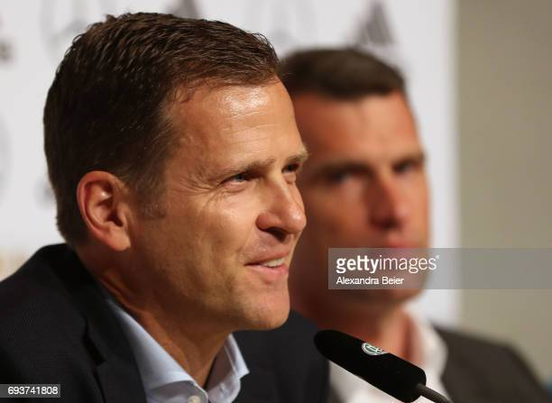 Manager of the German national soccer team Oliver Bierhoff and CEO of German Sporthilfe foundation Michael Ilgner attend a press conference on June 8...
