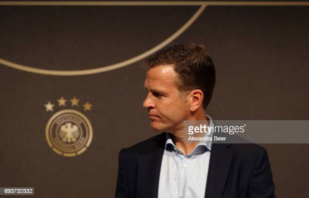Manager of the German national soccer team Oliver Bierhoff arrives for a press conference on June 8 2017 in Herzogenaurach Germany