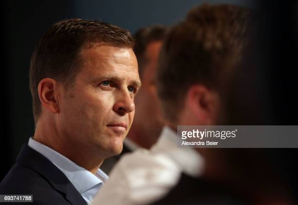 Manager of the German national soccer team Oliver Bierhoff attends a press conference on June 8 2017 in Herzogenaurach Germany