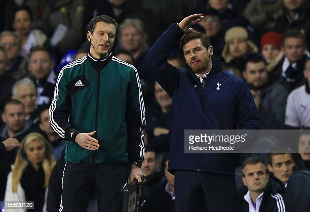 Manager of Tottenham Hotspur Andre Villas Boas has words with Fourth Offiical Jukka Honkanen during the UEFA Europa League group J match between...
