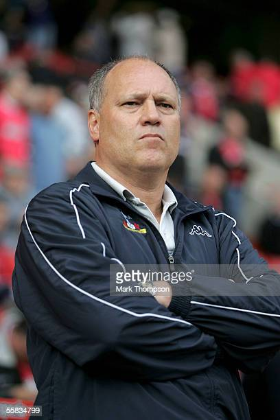 Manager of Tottenham Hotspur Martin Jol watches the Barclays Premiership match between Charlton Athletic and Tottenham Hotspur at The Valley on...