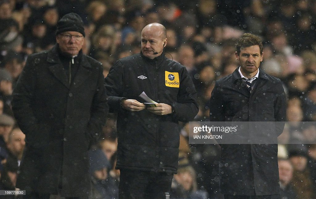 Manager of Tottenham Hotspur's Portugese manager Andre Villas-Boas (R) looks on next to Manchester United's Scottish manager Alex Ferguson (L) on the touchline during the English Premier League football match between Tottenham Hotspur and Manchester United at White Hart Lane in London on January 20, 2013. A stoppage-time goal by Clint Dempsey saw Tottenham Hotspur snatch a 1-1 draw at home to Manchester United on that prevented the Premier League leaders from restoring their seven-point lead. AFP PHOTO/IAN KINGTON USE. No use with unauthorised audio, video, data, fixture lists, club/league logos or 'live' services. Online in-match use limited to 45 images, no video emulation. No use in betting, games or single club/league/player publications.