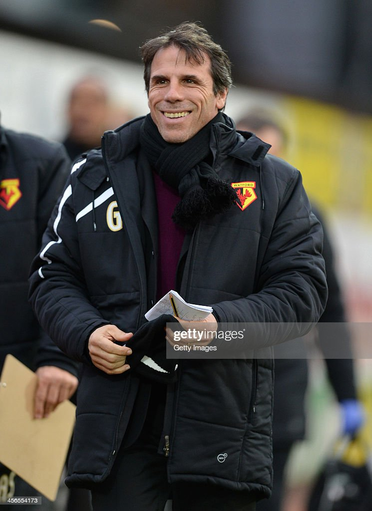 Manager of Watford <a gi-track='captionPersonalityLinkClicked' href=/galleries/search?phrase=Gianfranco+Zola&family=editorial&specificpeople=213951 ng-click='$event.stopPropagation()'>Gianfranco Zola</a> looks on during the the Sky Bet Championship match between Watford and Sheffield Wednesday at Vicarage Road on December 14, 2013 in Watford, England,