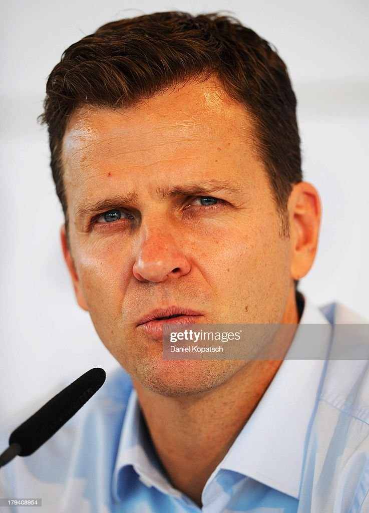 Manager <a gi-track='captionPersonalityLinkClicked' href=/galleries/search?phrase=Oliver+Bierhoff&family=editorial&specificpeople=213661 ng-click='$event.stopPropagation()'>Oliver Bierhoff</a> attends a press conference held by the German national football team on September 3, 2013 in Munich, Germany.