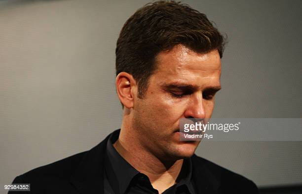 Manager Oliver Bierhoff leaves the press conference of the German national football team due to the death of Robert Enke at the Deutsche Telekom...