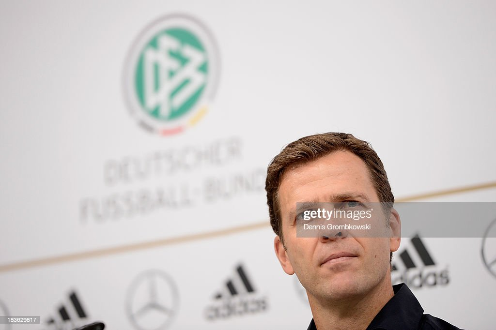 Manager <a gi-track='captionPersonalityLinkClicked' href=/galleries/search?phrase=Oliver+Bierhoff&family=editorial&specificpeople=213661 ng-click='$event.stopPropagation()'>Oliver Bierhoff</a> of Germany reacts during a press conference ahead of their FIFA 2014 World Cup Qualifier match against Republic of Ireland at Rudas Studios on October 8, 2013 in Dusseldorf, Germany.