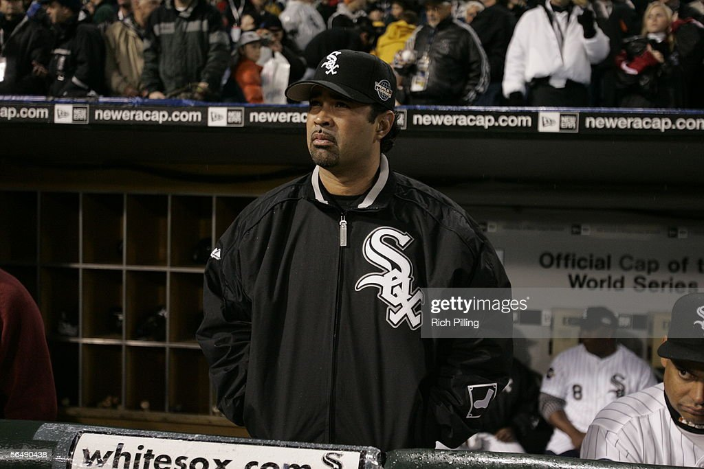 Manager Ozzie Guillen of the Chicago White Sox looks on before Game Two of the Major League Baseball World Series between the Chicago White Sox and the Houston Astros at U.S. Cellular Field on October 23, 2005 in Chicago, Illinois.