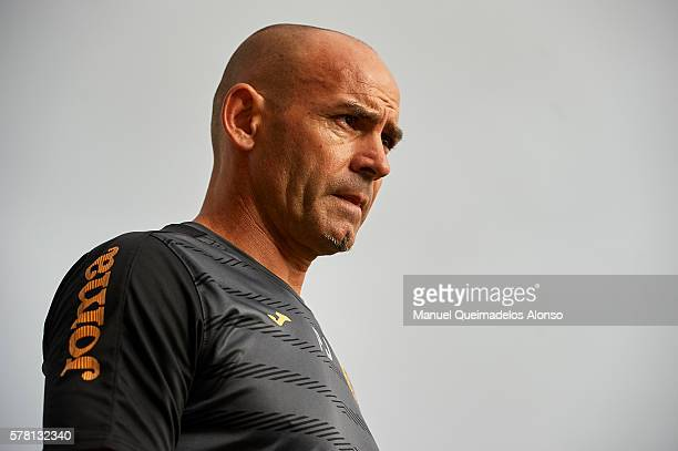 Manager Paco Jemez of Granada looks on prior to the friendly match between Granada CF and Bristol City at Pinatar Arena Stadium on July 20 2016 in...