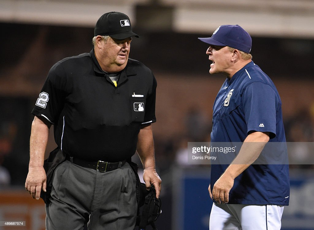 Manager Pat Murphy of the San Diego Padres argues a call with umpire Joe West during the fifth inning of a baseball game against the San Francisco...