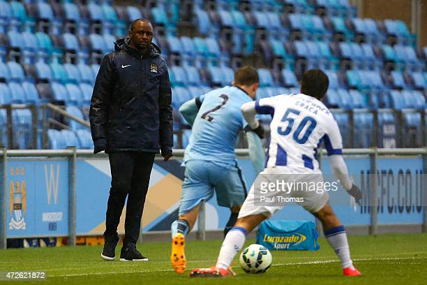 Manager Patrick Vieira of Manchester City watches on during the Premier League International Cup Final match between Manchester City and FC Porto at...
