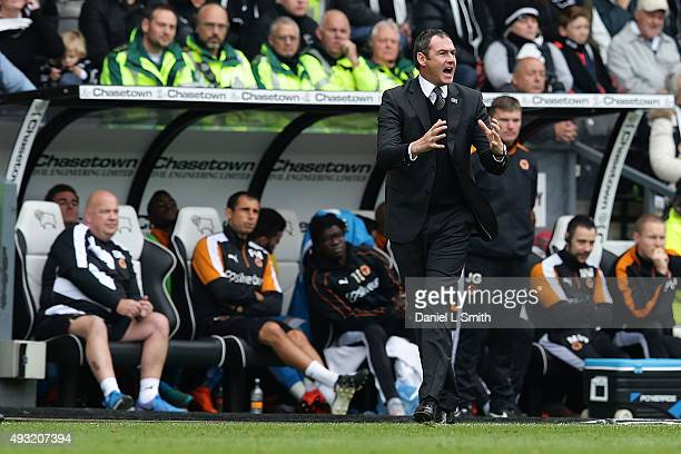 Manager Paul Clement of Derby County communicates to his players during the Sky Bet Championship match between Derby County and Wolverhampton...