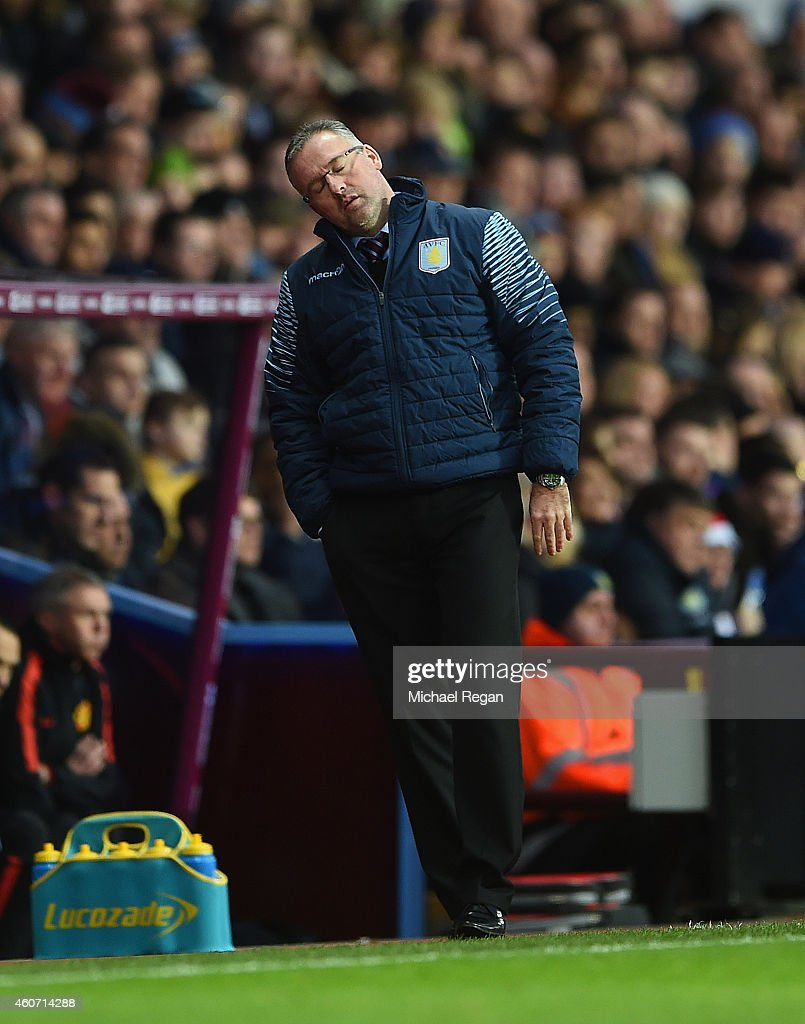 Manager <a gi-track='captionPersonalityLinkClicked' href=/galleries/search?phrase=Paul+Lambert+-+Soccer+Manager&family=editorial&specificpeople=8052775 ng-click='$event.stopPropagation()'>Paul Lambert</a> of Aston Villa reacts during the Barclays Premier League match between Aston Villa and Manchester United at Villa Park on December 20, 2014 in Birmingham, England.