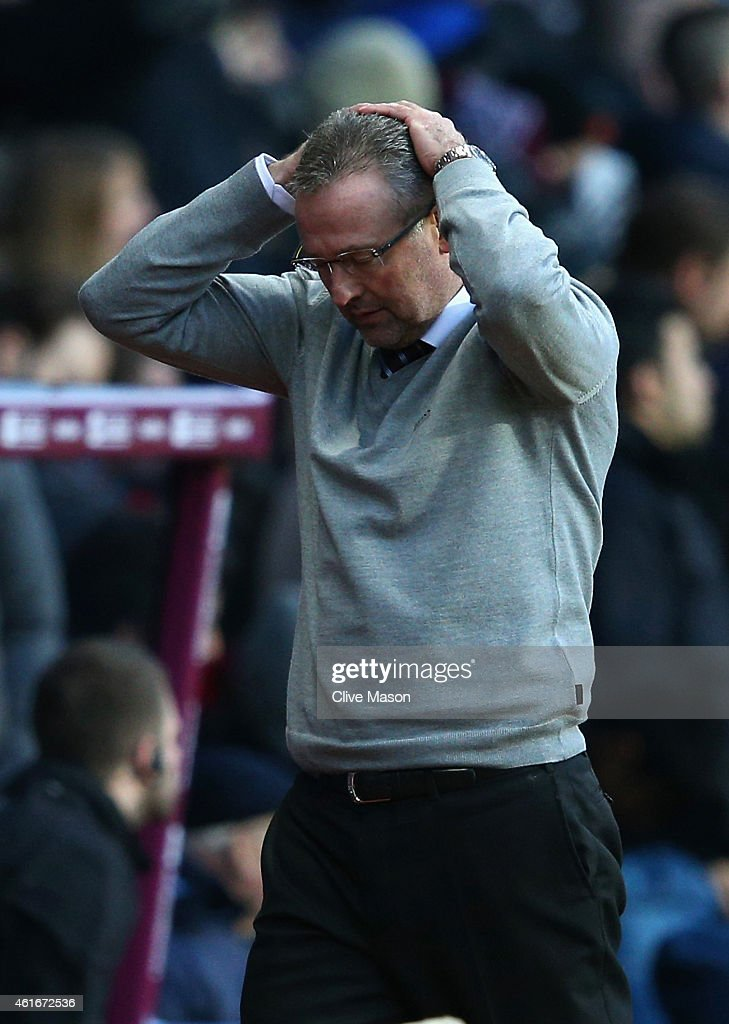 Manager <a gi-track='captionPersonalityLinkClicked' href=/galleries/search?phrase=Paul+Lambert+-+Soccer+Manager&family=editorial&specificpeople=8052775 ng-click='$event.stopPropagation()'>Paul Lambert</a> of Aston Villa reacts during the Barclays Premier League match between Aston Villa and Liverpool at Villa Park on January 17, 2015 in Birmingham, England.