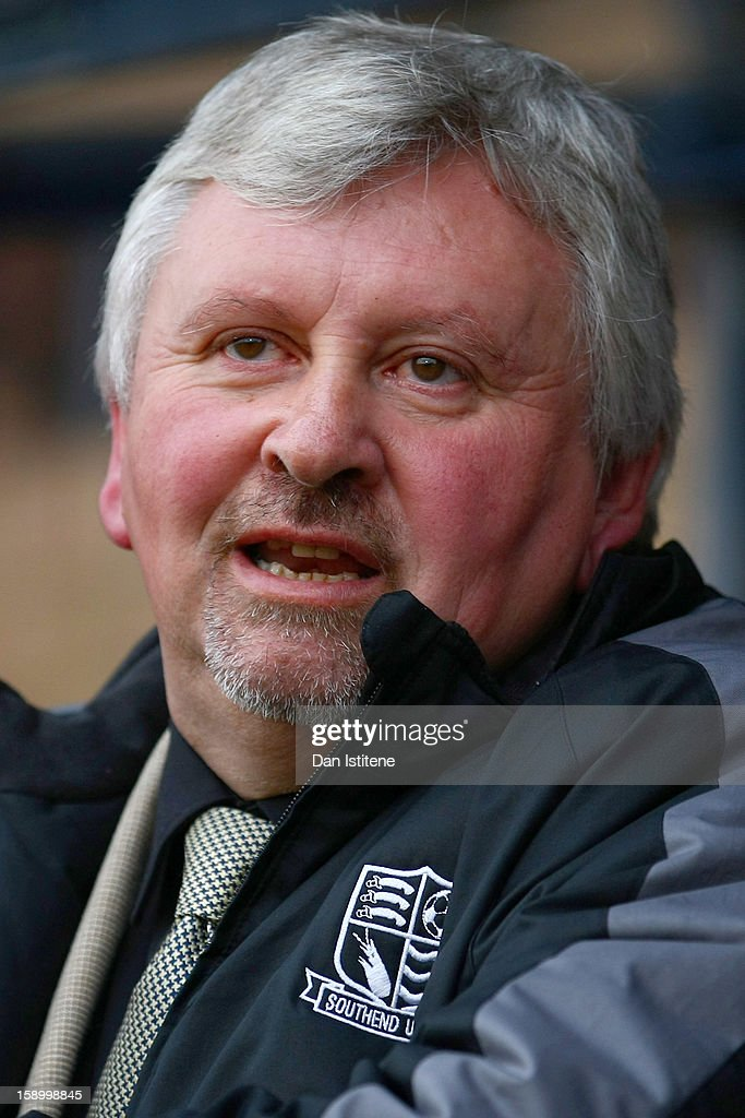Manager Paul Sturrock of Southend looks on before the FA Cup with Budweiser Third Round match between Southend United and Brentford at Roots Hall on...