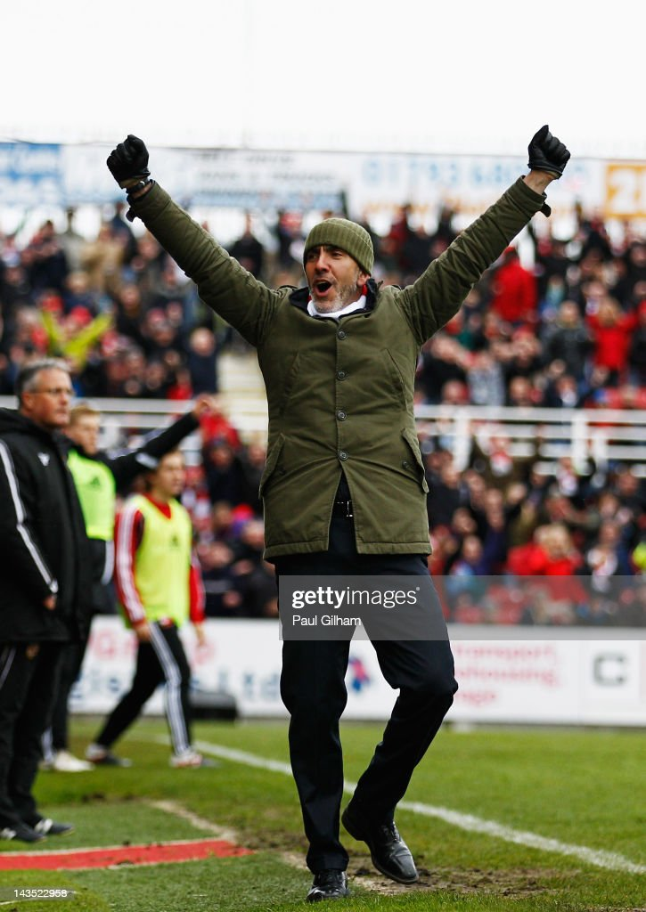 Manager Paulo Di Canio of Swindon Town celebrates at the final whistle after Swindon Town were crownded champions during the npower League Two match between Swindon Town and Port Vale at the County Ground on April 28, 2012 in Swindon, England.