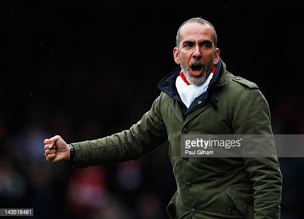 Manager Paulo Di Canio of Swindon Town celebrates Swindon Town's first goal during the npower League Two match between Swindon Town and Port Vale at...