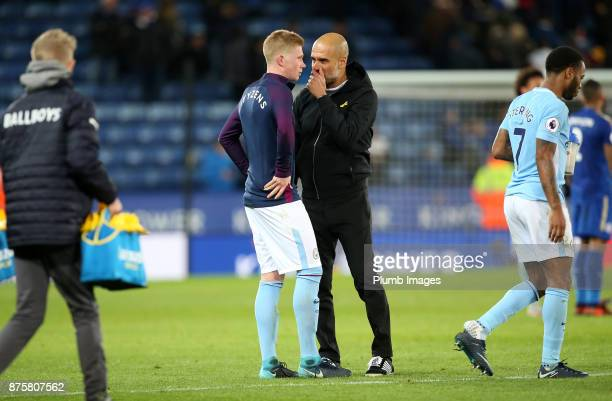 Manager Pep Guardiola of Manchester City with Kevin De Bruyne of Manchester City after the Premier League match between Leicester City and Manchester...