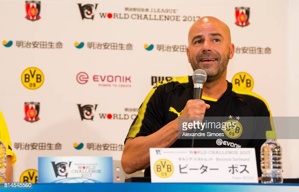 Manager Peter Bosz of Borussia Dortmund during the press conference prior to the World Challenge match Urawa Reds vs Borussia Dortmund on July 14...
