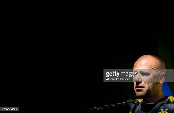 Manager Peter Bosz of Borussia Dortmund in action during a training session as part of the training camp on July 30 2017 in Bad Ragaz Switzerland