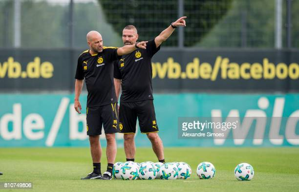 Manager Peter Bosz with Hendrie Kruezen of Dortmund during a training session at BVB trainings center on July 7 2017 in Dortmund