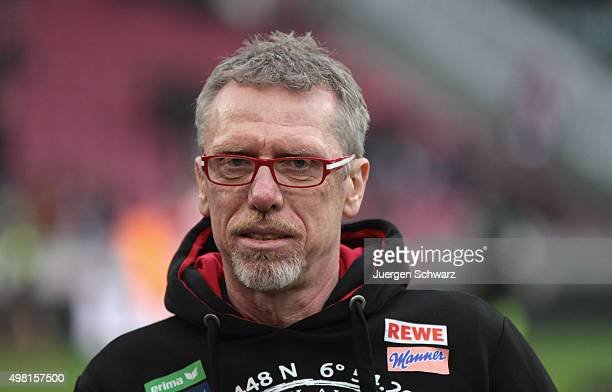 Manager Peter Stoeger of Cologne stands beside the pitch at the Bundesliga match between 1 FC Koeln and 1 FSV Mainz 05 at RheinEnergieStadion on...