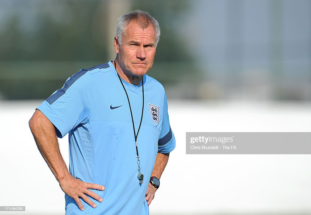 Manager Peter Taylor of England looks on during an England U20 training session on June 25, 2013 in Antalya, Turkey.