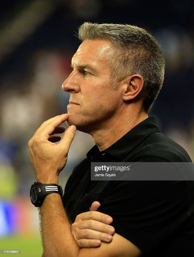 Manager Peter Vermes of the MLS All-Stars watches during the 2013 Major League Soccer All Star Game against AS Roma at Sporting Park on July 31, 2013 in Kansas City, Kansas.