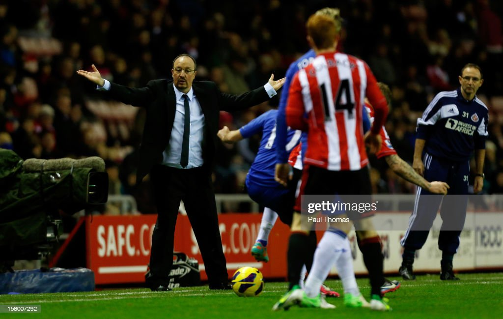 Manager Rafa Benitez (L) of Chelsea reacts during the Barclays Premier League match between Sunderland and Chelsea at the Stadium of Light on December 8, 2012, in Sunderland, England.