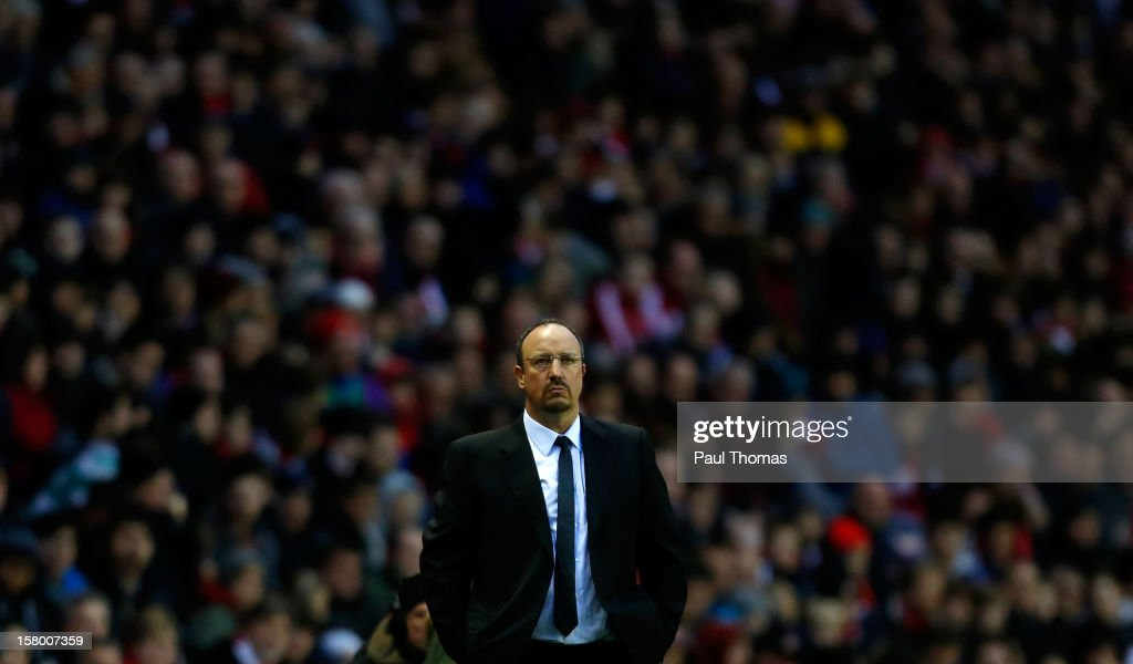 Manager Rafa Benitez of Chelsea watches during the Barclays Premier League match between Sunderland and Chelsea at the Stadium of Light on December 8, 2012, in Sunderland, England.