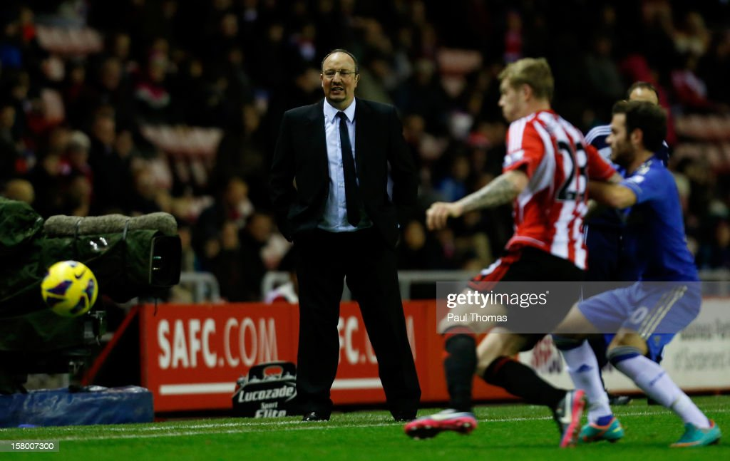 Manager Rafa Benitez (C) of Chelsea watches on during the Barclays Premier League match between Sunderland and Chelsea at the Stadium of Light on December 8, 2012, in Sunderland, England.