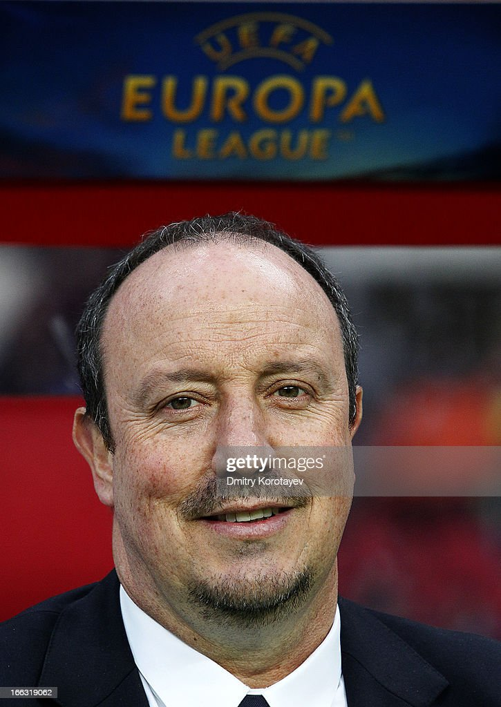 Manager Rafael Benitez of Chelsea FC looks on during the UEFA Europa League quarter final second leg match between FC Rubin Kazan and Chelsea FC at the Luzhniki Stadium on April 11, 2013 in Moscow, Russia.