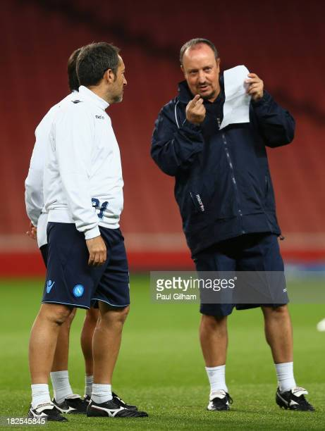 Manager Rafael Benitez of SSC Napoli talks to one of his coaches during a SSC Napoli training session ahead of their Champions League Group F match...