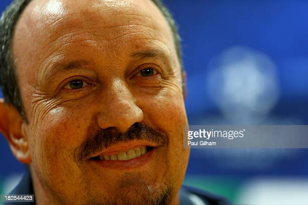 Manager Rafael Benitez of SSC Napoli talks to the media during a press conference prior to traing ahead of their Champions League Group F match...