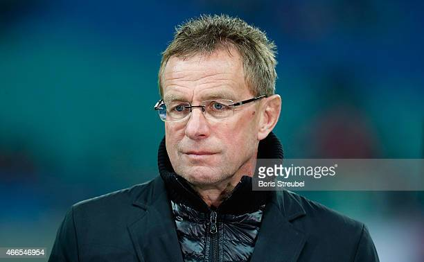 Manager Ralf Rangnick of Leipzig looks on prior to the Second Bundesliga match between RB Leipzig and Fortuna Duesseldorf at Red Bull Arena on March...